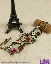 Gift Vintage Funny Cute Garden Love Flower Butterfly Handmade Enamel Bracelet
