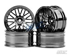 MST Silver black 10 spokes2 ribs RC1/10 Drift Car Wheels offset11(4PCS)102035SBK