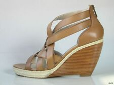 new TAHARI 'Janice' tan leather strappy platform wedges shoes 10 - HOT