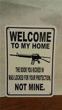 "Welcome Gun Bullet Protection Ar 15 9""X12"" Man Cave Aluminum Sign Sc06"