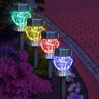 4x Stainless Steel Solar Power Coloured LED Lights Outdoor Garden Post Path walk
