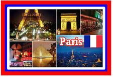 PARIS, FRANCE - SOUVENIR NOVELTY FRIDGE MAGNET - FLAGS / SIGHTS - GIFT / NEW