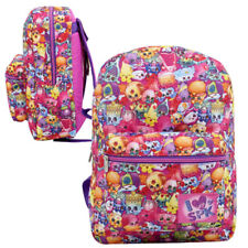 "SPK SHOPKINS SCHOOL 16"" BACKPACK KIDS GIRLS PINK BOOK BAG ALL PRINT RUCKSACK NEW"