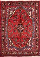 Traditional Malayer RED Floral Oriental Hand-Knotted Area Rug Wool Carpet 7x10