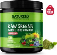 NATURELO Raw Greens Superfood Powder - Unsweetened - 60 Servings