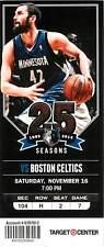 Ticket Basketball Minnesota Timberwolves 2013 - 14  Nov 16 Boston Celtics