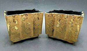 UPCO Weeping Gold Ceramic Pottery Pair Art Deco Nouveau Planter Vase