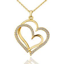 Halskette Herz Anhänger heart liebe Strass gold Modeschmuck Kristalle Damen lang