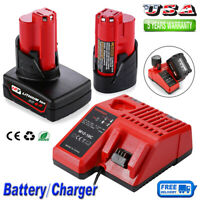Battery / Charger For Milwaukee 12V M12 XC 6.0 48-11-2460 48-11-2440 48-11-2412