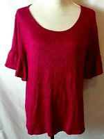 SJS Womens Top Size L Red Black Heather Short Sleeve w/Ruffle Polyester/Spandex
