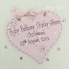 Personalised Christening Heart Plaque Keepsake Gift