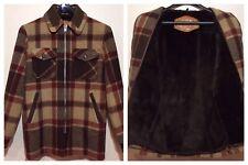 Vintage Woolrich Sherpa Lined Plaid Wool Heavy Duty Hunting Barn Coat Size S