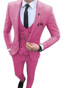 Classic Mens 3Piece Suits Slim Tuxedos Notch Lapel Groomsman Blazer+Vest+Pants++