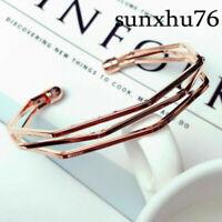 Stainless Steel Bracelet Irregular simple Opening Bangle Men Women Jewelry