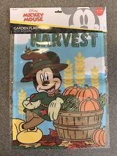 "Disney MICKEY MOUSE HARVEST Garden Flag - Fall, Autumn, Thanksgiving 12""x18"" NEW"