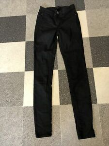 River Island Ladies Black Rubber Style Molly Jeans Size 6