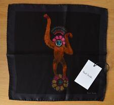 Paul Smith 100% Seide Monkey Paisley Animal Schwarz Taschen SQUARE Taschentuch