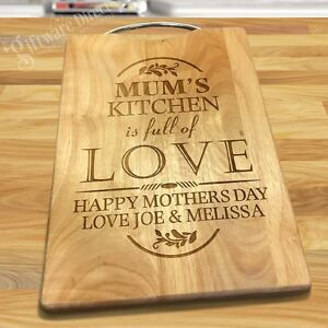 Mothers Day Engraved Wooden Cutting Board Chopping Personalised Gift Hardwood