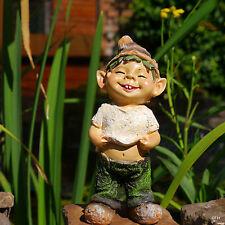 Garten  Figur Bauchfrei Troll Gnom Wichtel Zwerg Dekoration lustig Deko Neu 21cm