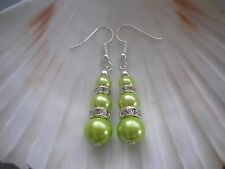 Coloured Pearl and Diamante Hook Dangly Long Drop Earrings Silver Rose Gold 3S