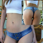 Sexy Womens Micro Denim Jean Shorts Ultra Low Rise Club Short Mini Pants