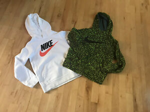 Lot of 2 NIKE Boys Hoodies M(10-12) Logo Pockets White/Black-Green Camouflage