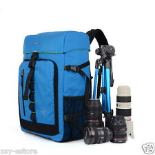 Blue Camera Bag DSLR SLR Cover Case Large Space Storing Backpack for Canon Nikon
