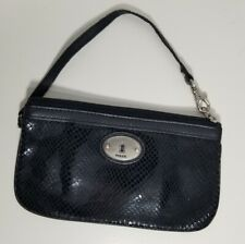 Fossil Wristlet Embossed Black Leather Silver Mini Faux Snakeskin Clutch Bag