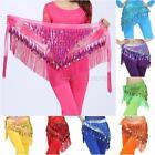 Women Belly Dance Sequins Triangle Hip Skirt Belt Coins Chiffon Dance Hip Scarfs