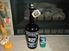 """GIANT 19"""" GLASS POISON BOTTLE BLACK W/ SKULL & CROSS BONES DEATH LABEL RARE HTF"""