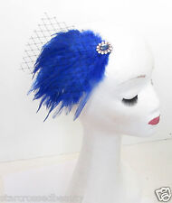 Royal Blue Black Veil Feather Fascinator Headpiece Vintage Silver Races 1920 M75