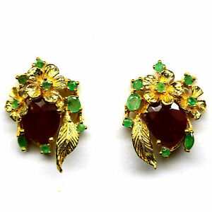NATURAL 9 X11 mm. RED RUBY & GREEN EMERALD EARRINGS 925 STERLING SILVER
