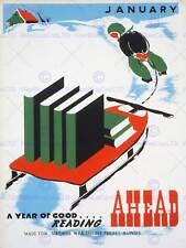 ILLINOIS USA libreria di lettura libro Neve Sledge vintage poster pubblicitari 2026py