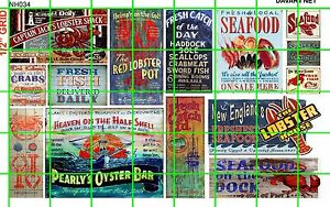 NH034 DAVE'S DECALS 1/2 Set N SCALE ASSORTED SEAFOOD LOBSTER CLAM CRAB SIGNAGE