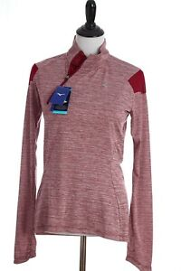 Mizuno Alpha Long Sleeve Drylite Reflective Athletic Shirt Womens Medium Red