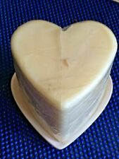 "New! Hand Crafted~Large Heart Shape Cream Candle w/Pearl Ceramic Dish~3.75"" tall"
