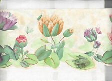 WALLPAPER BORDER LILY PAD FLOWER FLORAL DIE CUT FROG BUTTERFLY NEW ARRIVAL SNAIL