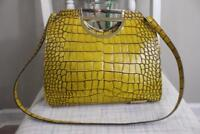 NAZARIO REGO Mustard Yellow Embossed Satchel Handbag (PU220