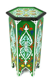 Moroccan Pedestal Table Painted Solid Tall Green Handmade Authentic Home Decor