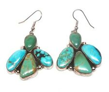 Navajo Handmade Sterling Silver Turquoise French Hook Earrings