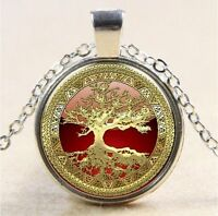 Vintage Tree of Life Cabochon Tibetan silver Glass Chain Pendant Necklace