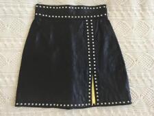DSQUARED2 Womens Black Leather Studded Slit High-Waist Mini Skirt 2/38 NEW