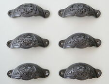 6  X  ANTIQUE VICTORIAN DECORATED CUP STYLE CAST IRON CHEST, DRAWER HANDLE