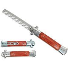 Novelty Comb   Automatic Switchblade Stiletto Knife Brown Wood Beard KS-1408BD