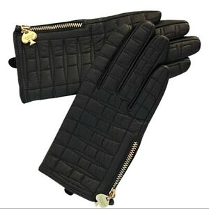 Kate Spade Black Leather Driving Gloves Gold Tone Zipper Lined Women Small 6.5