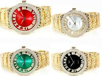 Men Iced Watch Bling Rapper Simulate Diamond Lab Metal Gold Luxury Nugget Hot