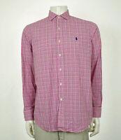 Polo Ralph Lauren Pink Plaid Striped Cotton Button Shirt Mens Large