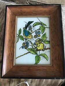 Vintage Elyse Alumin Art Reverse Hand Painting on Glass Squirrel Chipmunk Bird
