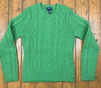 American Eagle Outfitters Womens Cable Knit Sweater Green Long Sleeve Wool Blend