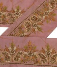 Sanskriti Vintage Saree Border Hand Embroidered Craft Trims 1 Yard Decor Lace